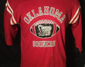 Vintage 1980's Oklahoma Sooners Western Cowboys T-Shirt Thin and Soft