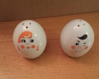 Vintage Egg Faces Salt and Pepper Shakers
