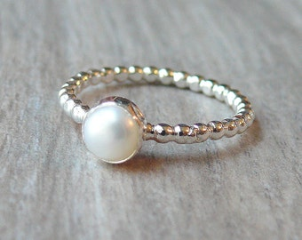 Sterling silver pearl ring Sterling silver stacking ring gemstone ring stackable ring sterling silver ring white pearl ring bubble ring