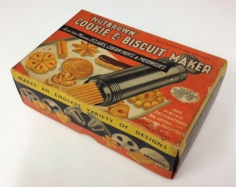 1960's Nutbrown Cookie and Biscuit Maker Made in England Original Box Complete Collectable Kitchenalia