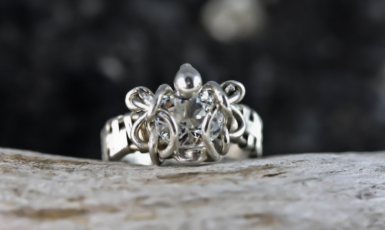 Aquamarine Wire Wrapped Engagement Wedding Ring Unique