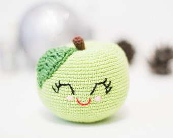 Crochet green happy apple  /Soft eco-friendly toy for baby/ For kid's room decor/ Made with love