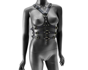 Black and Antique Brass Leather Fashion Harness - TRIPLE AGENT