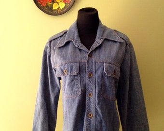VTG Mens Denim Shirt ||| Vintage Jean Shirt ||| Military Denim ||| Robert Bruce Shirt ||| Denim Button Down ||| Denim Medium ||| Denim Small