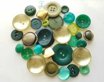 Vintage Cottage Chic shades of lucky green with gold accent buttons. Lot of 31. (Feb46)