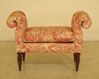 45016EC: Stunning Upholstered Rolled Arm Bench