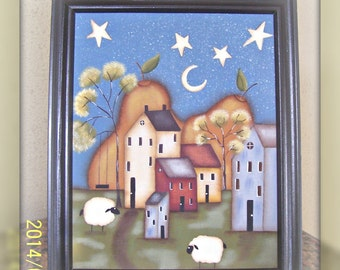 Primitive~HP~Saltbox House Framed Canvas~Home Decor~Picture