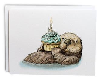 Otter Birthday Cards w/Envelopes {8-Pack}