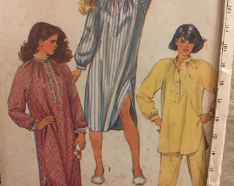 Vintage Simplicity uncut pattern 6651 - misses' nightshirt in two lengths and pajamas - size SMALL