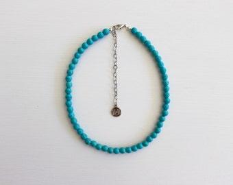 Beaded Choker - Teal Blue // Turquoise Blue