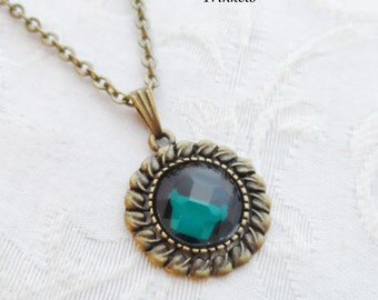 75% Off Sale Dark Teal Blue Faceted Glass Necklace