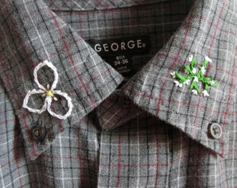 Flower and Leaf Embroidered Flannel