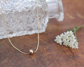 Gold Floating Ball Necklace
