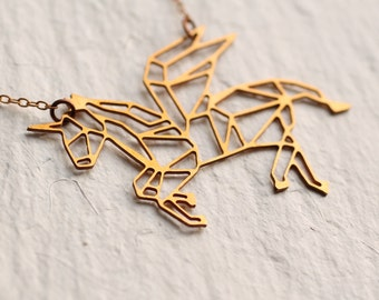 Unicorn Necklace ... Geometric Horse Pendant
