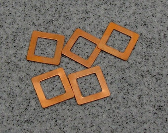 """1"""" Copper Square Washer 24 Gauge 1""""OD/15.5mmID Pack of 5"""