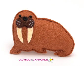 Felt WALRUS, stuffed felt Walrus magnet or ornament,Walrus toy, Sea creature, Walrus magnet,Nursery decor, Walrus, Walrus ornament, Cute toy