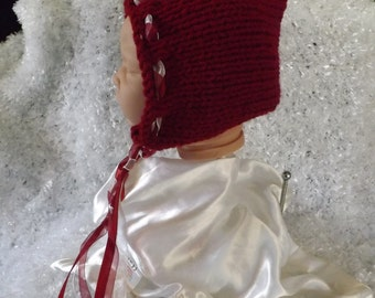 hand knitted  baby girl   pixie  hat/ bonnet  perfect photo prop  0/6 month