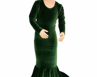 Girls Forest Green Velvet Puddle Train Dress Gown Halloween Costume Pagent Gown Sizes 2T 3T 4T and 5-12   155245