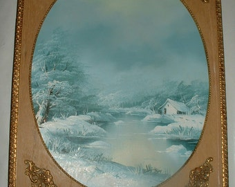 G Rumsky . Vintage Oil Painting Winter Scene