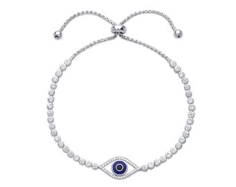 "Ladies 7.5"" Sterling Silver Evil Eye Cz Friendship Bracelet"