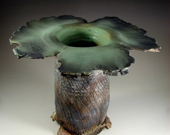"Ceramic Art Sculpture - ""Leafy Forest"" - Handmade Pottery Centerpiece Bowl - Wheel Thrown Stoneware Art - Ships Today"