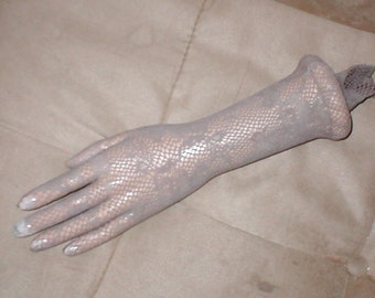 Vintage elbow length TAUPE Lace Fishnet Gloves