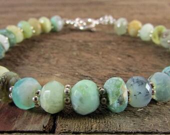 Chrysoprase Gemstone Bracelet, Green Gemstone Bracelet, Elegant Gemstone Jewelry