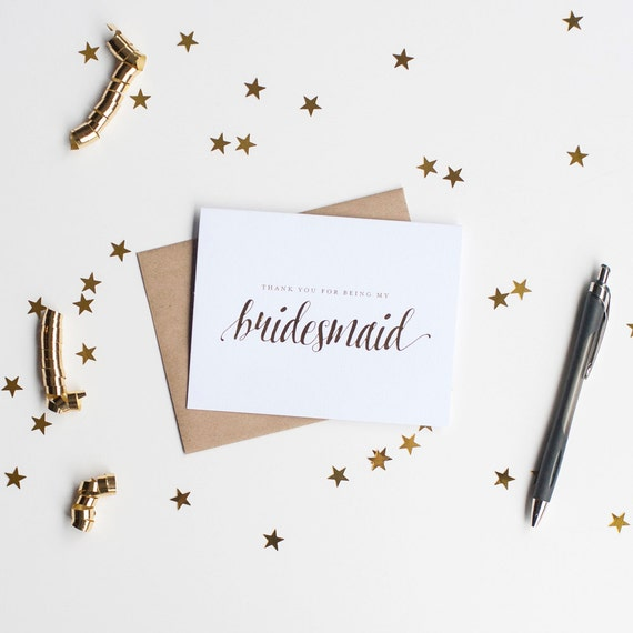 Gold Foil Thank You for Being My Bridesmaid card, proposal, foil stamped notecard, wedding party card, bridal party, bridesmaid invitation