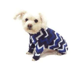 Chevron Fleece Dog Pajamas-Dog Pjs-Blue Fleece Dog Pajamas-Dog Clothing-Dog Onesie-Pajamas for Dogs-Clothes for Dogs-Winter Dog Clothes