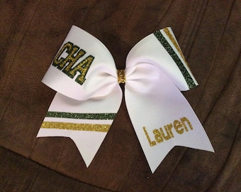 Personalized Texas Size Stripe Cheer Bow
