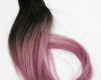 Clip in Light Pastel Metallic Pink Ombre Human Hair Extensions Dark Root Hairstyles Perfect for Braided Hairstyles