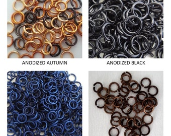 "Jump rings/100 rings 5mm 18g 3/16""/Jewelry/Anodized jumprings/Chainmail/Chainmaille/Saw cut/Bright aluminum/Jewelry findings/by lilcuddles"