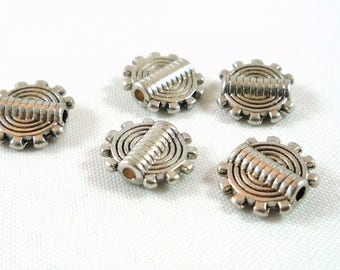 10 beads silver plated spiral bead, 10mm (pm18) reliefs and nickel free