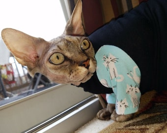 Clothes for pets, Kitty Cat in pink, aqua or gray with solids Sphynx Cat Clothes. Sleeve length/pattern your choice, ReTro Pet™
