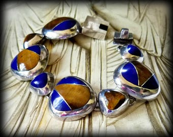 Sterling Silver Tigereye and Lapis Bracelet