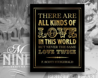 Black and Gold Party Sign Printables / All Kinds of Love In This World / Gatsby Quote Signs, Printable Party Download, Wedding Signs BWBG65