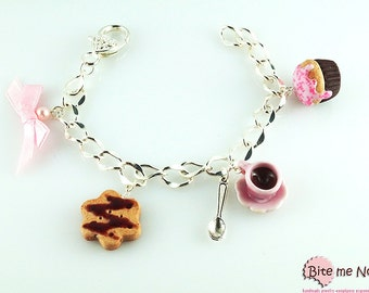 Miniature Food Hot Chocolate Cookie and Cupcake Bracelet, Food Jewelry, Polymer Clay Sweets, Handmade Bracelet, Mini Food, Kawaii Jewelry