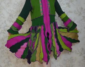 Bougainville, Katwise inspired upcycled sweater coat, Pixie coat, Recycled fashion, Eco friendly, LARGE