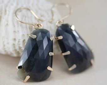 sapphire earrings, rose cut blue sapphire dangle earrings, prong set gold fill,   Rachel Wilder Handmade Jewelry