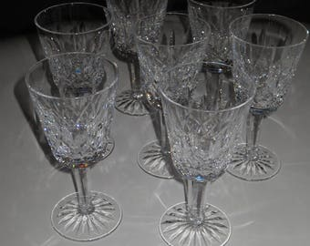 Vintage Waterford Crystal  White Wine Glasses, Set of 7 glasses, Waterford Lisemore