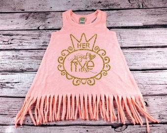 5th Birthday Shirt Her Royal Fiveness Toddler Girl Birthday Outfit Birthday Shirt Gold Glitter Fifth Birthday Girl Birthday Fringe Dress