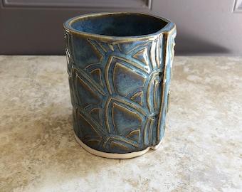 Blue Scaled Tumbler, Handmade Pottery, Slab Built Cup