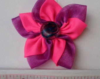 Hair Clip Pink and Purple Fabric Flower Kanzashi