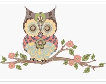 Owl Sitting On Branch | Nursery Art Owls