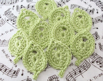 Crochet Leaves|Leaf Appliques|Wasabi Leaves|Leaf Embellishments