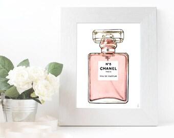 Chanel illustration, Chanel perfume, Chanel N 5, fashion illustration, fashion wall art, fashion sketch, fashion print, fashion poster