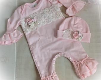 Newborn Girl Outfit, Baby Girl Coming Home Outfit, Newborn Take Home Romper, Pink Newborn Ruffle Romper