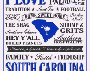 South Carolina Ceramic Tile Coasters Set of 4