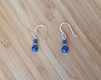 Sterling Silver Denim Lapis Lazuli Earrings