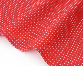 Cotton batiste fabric silky background white polka dots red x50cm
